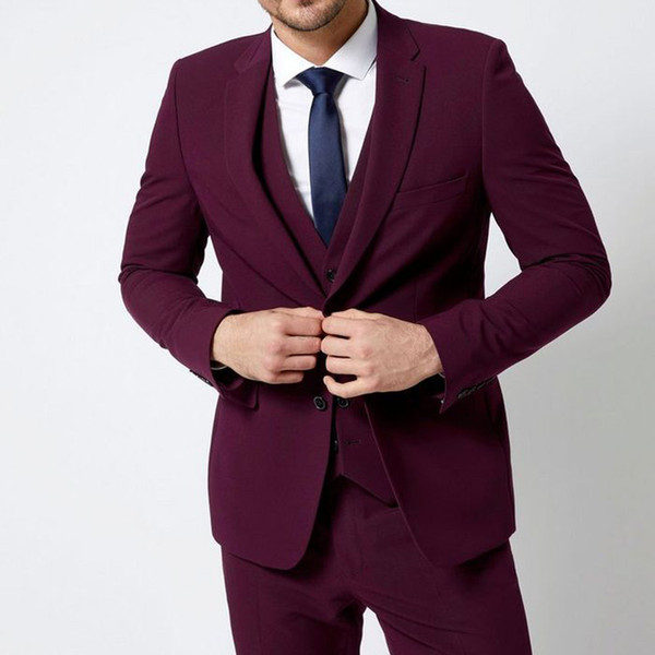 Handsome Groom Wear For Wedding 3 Pieces Notched Lapel Mens Wedding Tuxedos Formal Business Man Blazer Suits