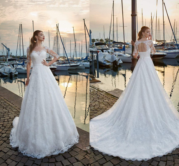 Scoop A Line Wedding Dresses Full Lace Appliques Illusion Tiered Skirts Bridal Gowns Open Back Big Hem Sweep Train Women Dress