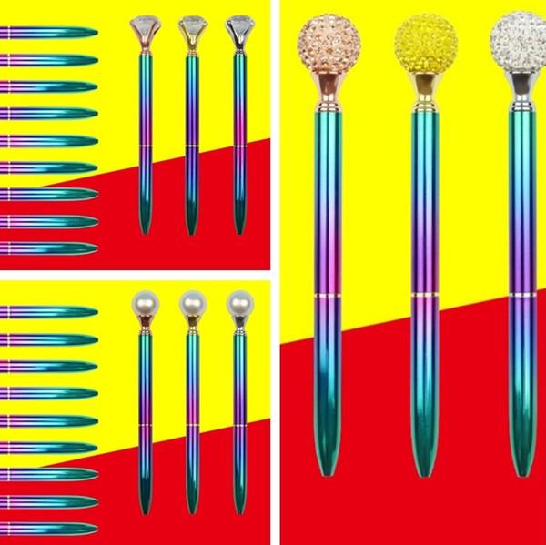 Calde penne con diamanti di grandi dimensioni in metallo Penne colorate con penna a sfera in lacca di cristallo Penna a sfera in cristallo di cristallo Penna a sfera a forma di penna I513