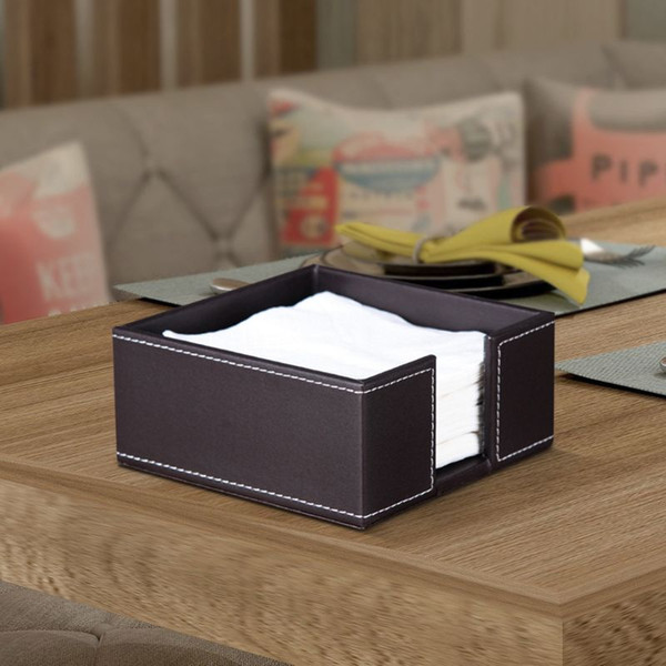 3 color leather square cocktail napkin holder tissue box paper serviette dispenser bar caddy for dining table l office home