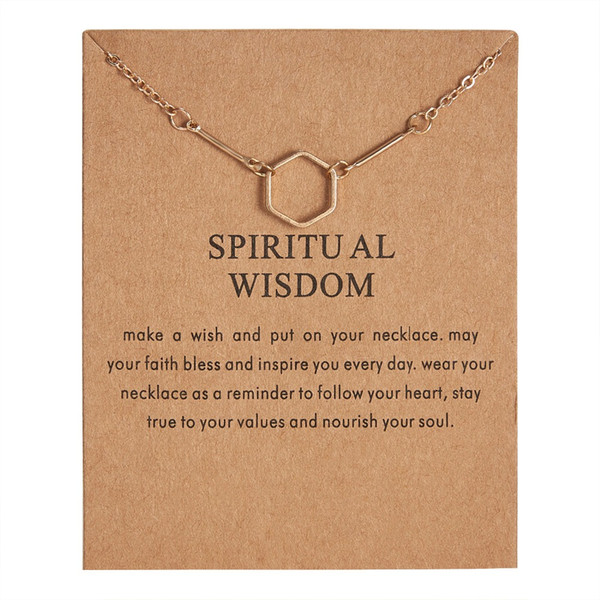 Fashion New Gold-color Bones Necklace Spiritual Wisdom Hexagonal Alloy Clavicle Pendant Short Necklace Women Gift