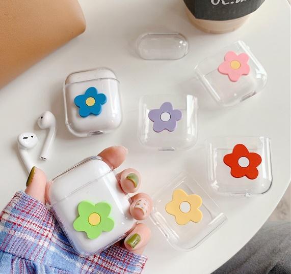 Airpods Funda protectora para Apple inalámbrico Bluetooth Auricular protector flor linda del auricular con el bolso opp