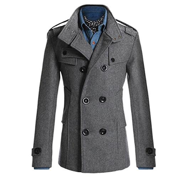 Fashion Men Double Breasted Winter Slim Warm Jacket Stylish Trench Coat Outwear