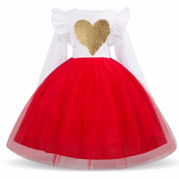 Girls Sequins Dress Kids For Girl Long Sleeve Princess Tutu Dresses Children Heart Design Sequined Party Vestidos 3-8Y XF58