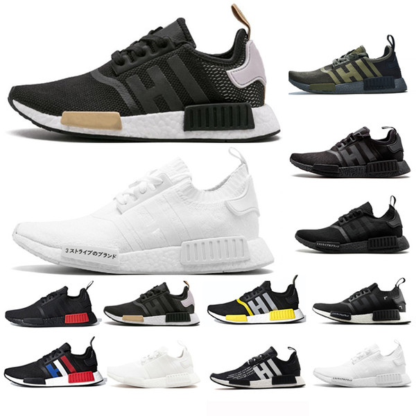 Acheter Adidas NMD Boost 2019 NMD Runner R1 Primeknit Triple Noir Blanc Bee Nmds Comfort Chaussures De Course Pour Hommes Femmes OREO NMDS SPEED