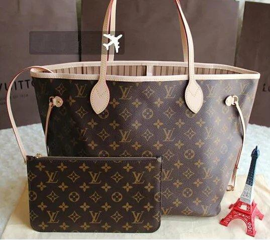 top popular hot sale LOUIS NEVERFULL old flower handbag+wallet top leather shoulder bag clutch shopping package LOUIS 2019
