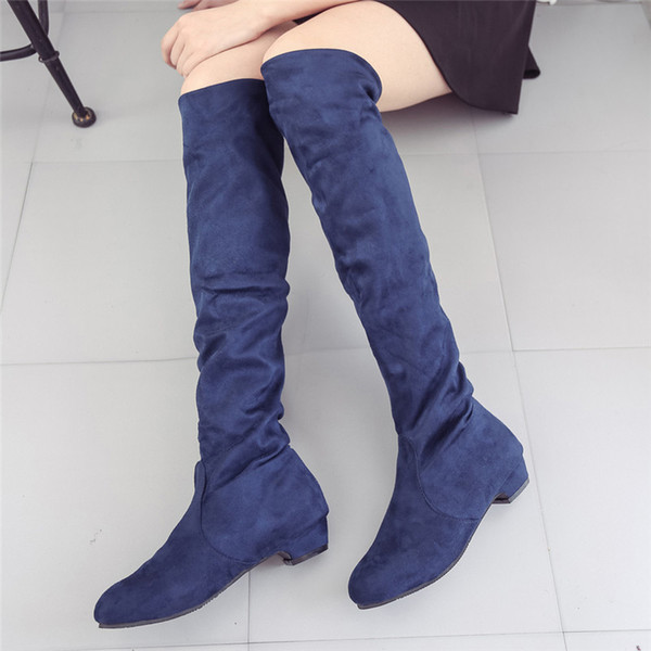 Women's boots Fashion Suede Leather Shoes Women Over the Knee Heels Boots Stretch Flock Winter High Winter Women