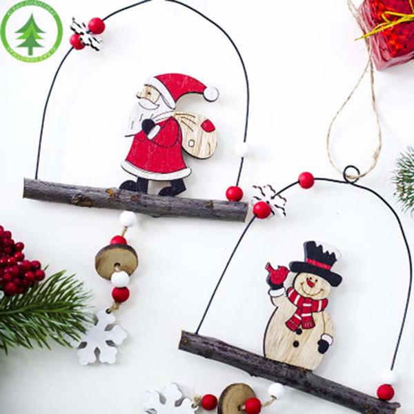 Metal Ahşap Fener şekli Asılı Dekorasyon Noel Ağacı Dekor Daimi Noel Baba Kardan Adam Kapı Kolye kırmızı boncuk Parti Kaynağı