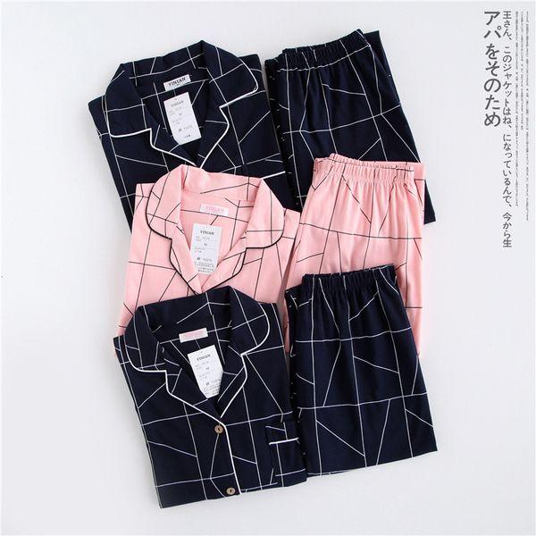 Мужчины дамы пара пижамы набор 100%хлопок с длинными рукавами Женская одежда тонкий стиль домашняя одежда весна осень пижамы для женщин футболка