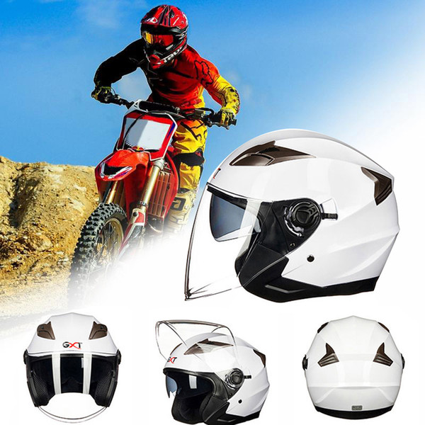 Motorradhelm Half Open Face Sicherheit Double Lens Vollschild Visier Bike Motocross Reithelme