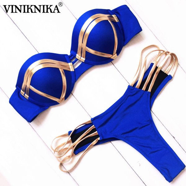 VINIKNIKA Gold Stamping Bikini Set Sexy Padded Women Swimsuit Push Up Summer Beachwear Brazil Bathing Suit 2019 Bandeau Swimwear