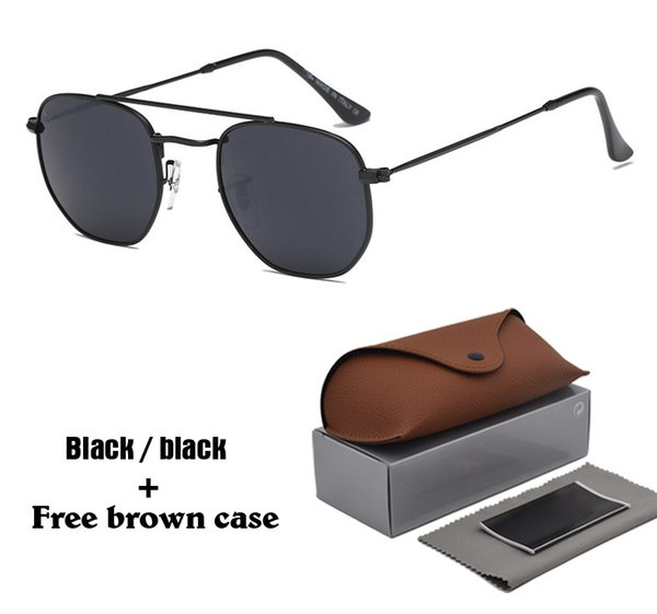 Brand Designer sunglasses Women men Hexagonal vintage Square Sun glasses oculos de sol with cases and box packages