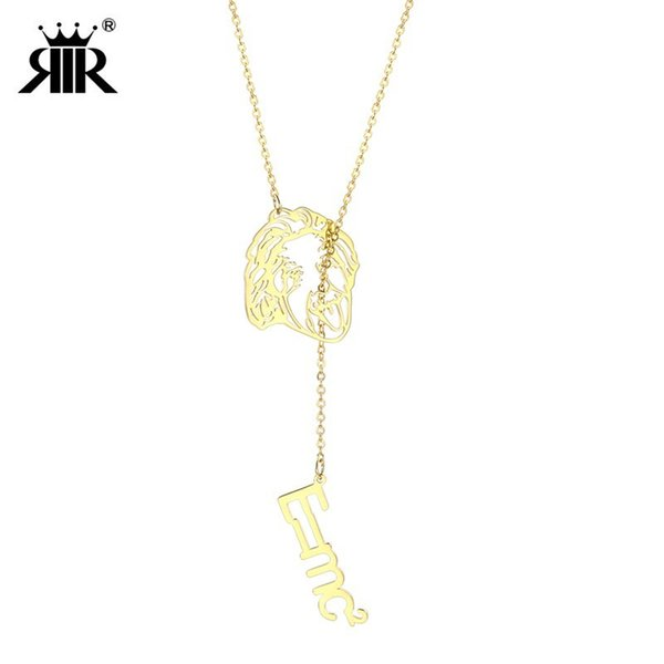 RIR Stainless Steel Science Jewelry Einstein with His Theorem E=MC2 Long Chain Statement Clever Pendant Necklace For Smart Women