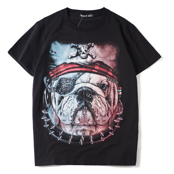 2019 latest HOT best Quality Pirate Dog Head Printing PERSONALITY HOT SELL Summer clothes Short sleeved Fashion Trend JOKER T-SHIRTS TOPS