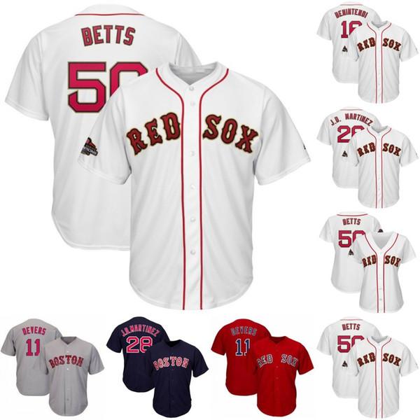 2019 Gold Program Boston Jersey 16 Andrew Benintendi 10 David Price 50 Mookie Betts 19 Jackie Bradley Jr. 28 J.D. Martinez Jersey de los Red Sox