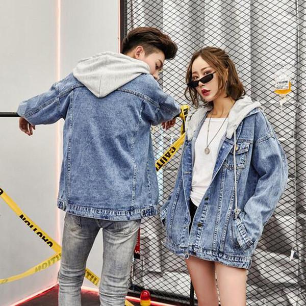 Aşık Gevşek BF Hip Hop Vintage Gevşek Harajuku Jean Coat Kadın Streetwear Temel Coat için Unisex Patch Başlıklı Denim Ceket