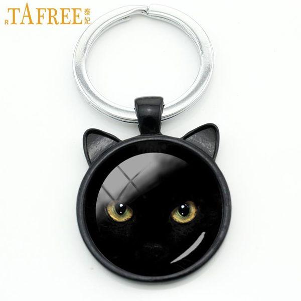 TAFREE Classic vintage Black Cat keychain men women Halloween gifts purse bag pendant key chain ring love cat jewelry CN316