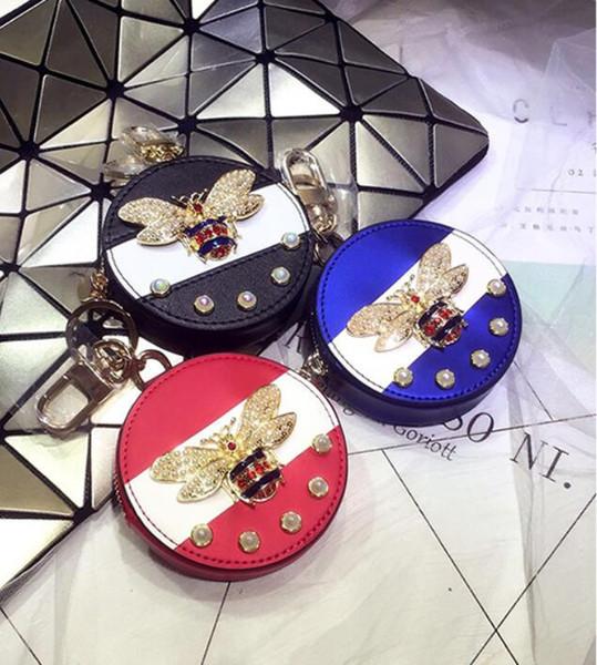 19 new hot fashion pearl bee purse coin bag female small cute hanging ornaments Korea creative car key chain bag pendant tide