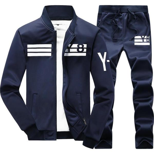 Spring Men's Sweatshirts Sportswear Suit Patchwork Sleeve Men Hoodies Stand Collar Male Outwear Tracksuit + Pants #D05