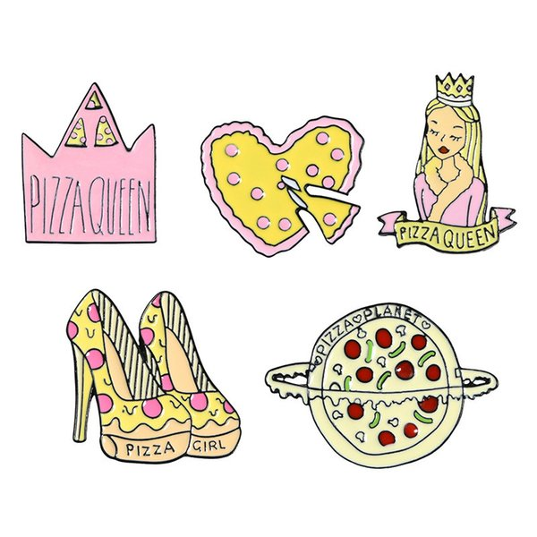Crown High-heeled Shoes Princess Loving Planet Pizza Brooch Badge Hard Enamel Pins Fashion Jewelry Denim Hat Cloth Accessory Party Gift