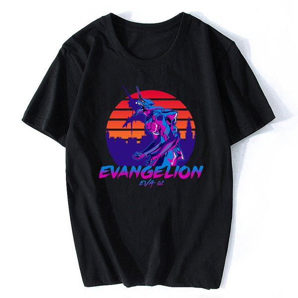 Néon Genesis Evangelion T-shirt ATTACK ANGEL EVA 01 02 T-shirt Vaporwave Anime Japon T-shirt À Manches Courtes Harajuku Streetwear Tshirt