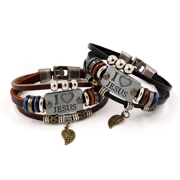 Eu amo Jesus Braceletes Bead pulseiras de couro Vintage Peixe Pingente Christian multicamada para Homens Mulheres Bangle Jewelry FFA3485