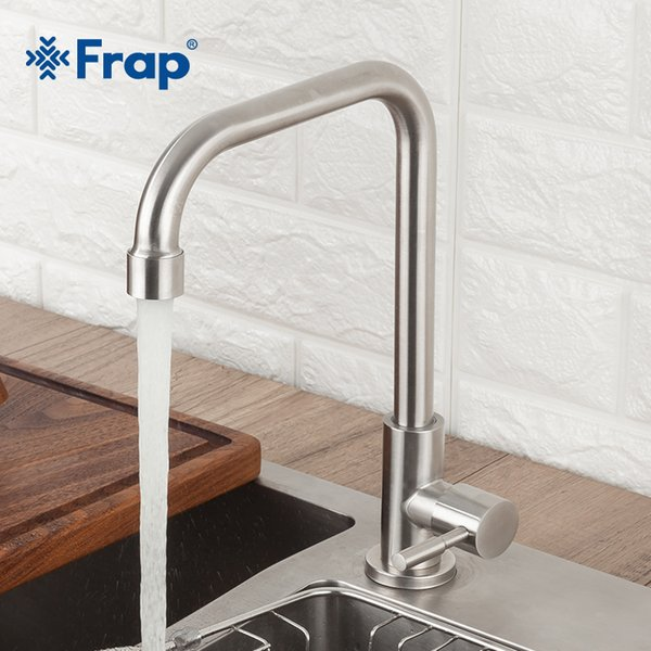 2019 Frap Kitchen Faucet 304 Stainless Steel Faucet Kitchen Sink Tap 360  Degree Rotatio Hot And Cold Water Single Cold From Oopp, $35.47 | DHgate.Com