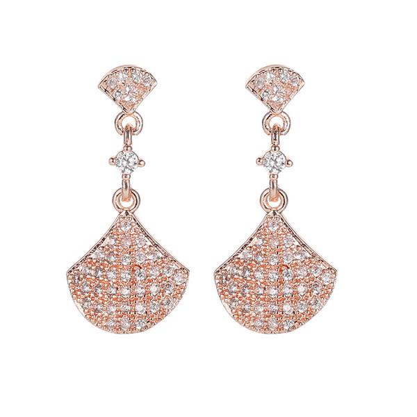 Bulgarien Markendesign einfache fächerförmige s925 Silber Ohrringe Frauen Mode schillernden Kristall Ärmel Ohrringe Hochzeit Partei Schmuck