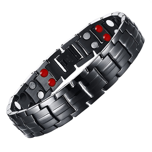 LITTLE FROG Drop Shipping Mens 316L Stainless Steel Germanium Balance Energy Care Magnetic Power Health Bracelets Bangles 10142