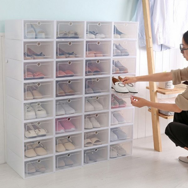 Sapatos de plástico transparente caixas empilháveis Floding DIY sapatos gavetas de armazenamento de contentores Organizadores Shoes Caixa de armazenamento transparente