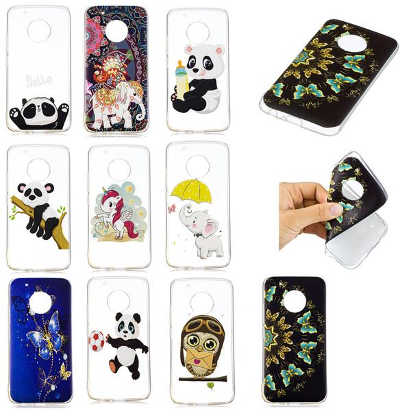 Soft TPU Back Phone Case For Moto G5 Slim Fit Panda owl elephant butterfly unicorn Case for Moto G5 Plus Cover