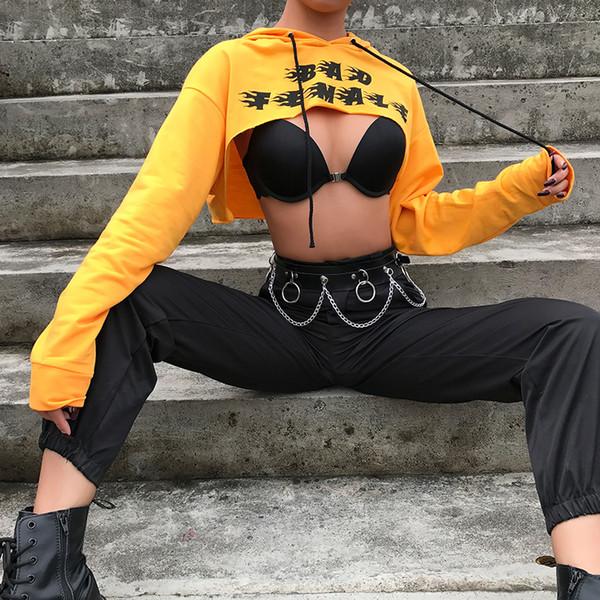 Sweetown Plus Size Crop Top Camiseta de manga larga Mujer Naranja Carta Camiseta impresa Femme Girl Power Mujer Camiseta Hoodie Top Y19051104