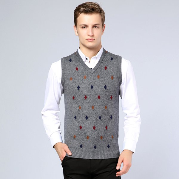 2019 New Arrival Mens Sweater Fashion Argyle Sleeveless Cashmere Sweater Male Casual V- Neck Pullover Wool Vest