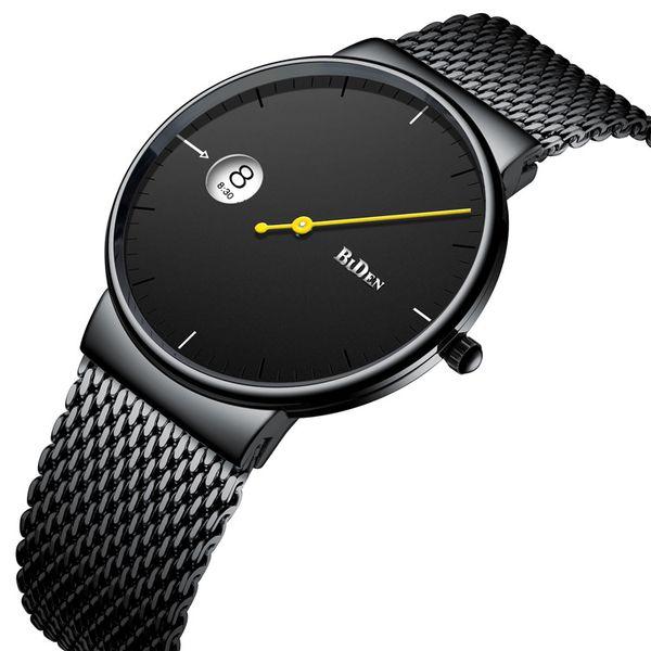 Fashion watches for Men Quartz Watch men Casual Japanese quartz watch Black stainless steel ultra thin clock male Relogio Gift