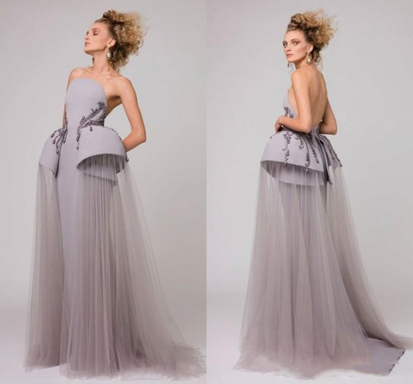 Azzi & Osta 2019 Beaded Peplum Evening Dresses Long Ruffled Strapless saudi arabia Formal Party Gowns Sexy Backless Prom Dress For Women