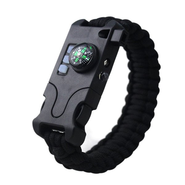 Outdoor Multifunctional Survival Bracelet Camping Infrared SOS LED Light Flashlight Paracord Compass Whistle Reflector Tools Kit