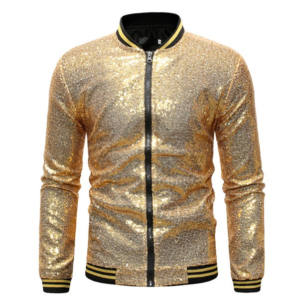 Men Golden Jacket Sequin Casual Jacket Coat Slim Fit NighClub Suit Performance Shinning Outwear Male Dance Zipper Jackets Cloth
