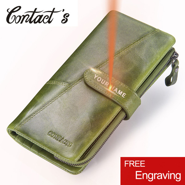 Contact's Fashion Woman's Wallet Genuine Leather Women Long Clutch Wallets Big Capacity Coin Purse Card Holder With Phone Bags Y19052302