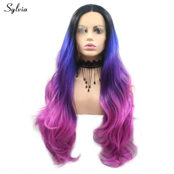 Dark Roots Ombre Sapphire Blue/violet/purple 4 Tone Synthetic Lace Front Wigs Body Wave Long Hair Cosplay Colorful Wigs