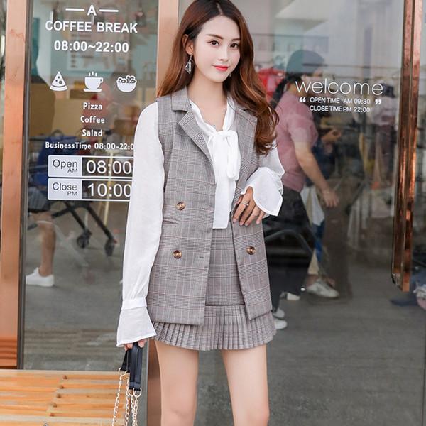 2 Parça Set Kadın Ekose Etek Elbise Kruvaze Yelek Mini Pileli Etek Zarif Kadın Setleri