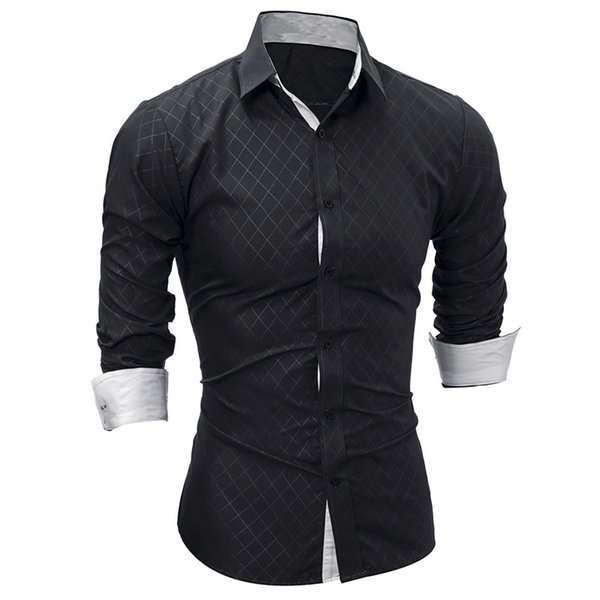 New Men Long Sleeve Casual Shirt Fashion Tuxedo Shirt Solid Color Slim Fit Black Mens Dress Shirts Camisa Social Masculina