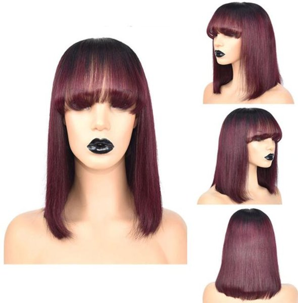 Short Bob Cut Lace Front Wig Straigh 10A Ombre Burgundy Color Brazilian Virgin Human Hair Full Lace Wig for Black Woman Free Shipping
