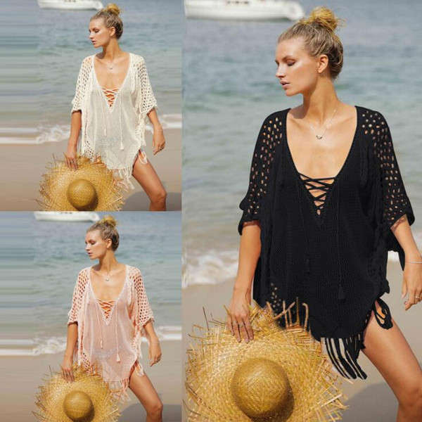 2019 Nuevo Crochet Knitted Beach Cover Up Túnica para el vestido de playa Traje de baño Mujeres Traje de baño Pareos Bikini Cover Up Sarong Traje de baño Cover Ups