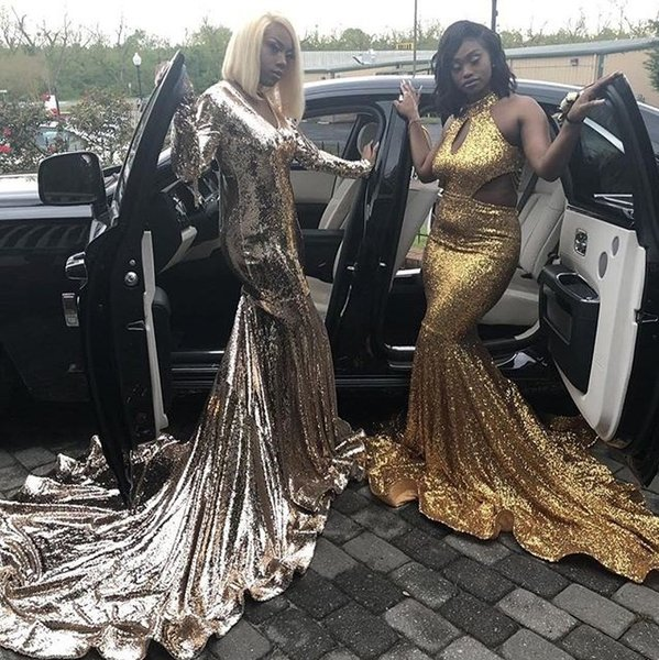 1578a56d9b6 2019 Gorgeous Gold Sequined Halter Mermaid Prom Dresses Keyhole Neck  Cutaway Sides Black Girls Evening Party Dresses South African