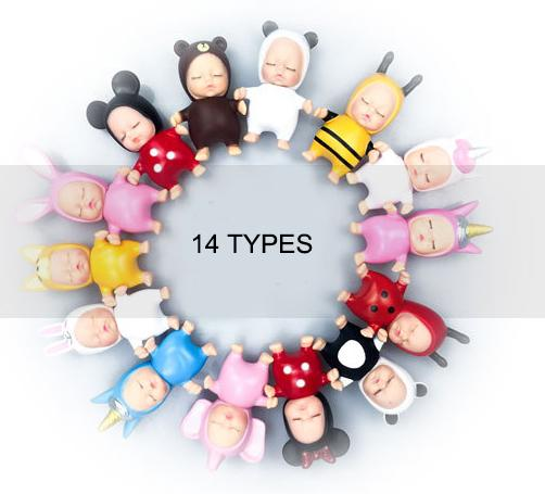 top popular 14 types New Mini Sleeping Baby Keyring Pendant Pendants Keychain Car Key Ornaments Bags Ornaments Pendant 9cm Doll Keychains kids toys 2021