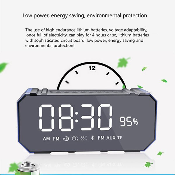 2019 New Bluetooth Digital Alarm Clock 10W Bluetooth Wireless Speaker With  LED Clock, Lightweight, Big Sound, Bass And Large Dimmable Display From