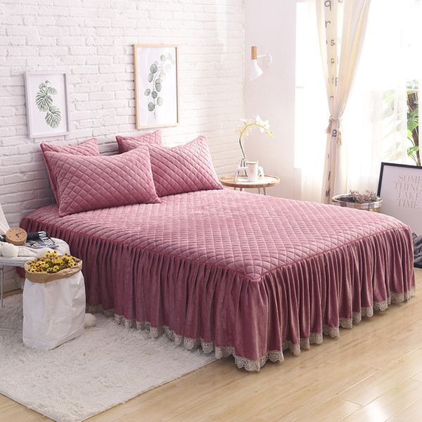 FB1901002 Bean sand color Khaki Gray Pink Red luxury Fleece Fabric Cotton Thick Bed Skirt bedding set lace edge bedspread pillowcases