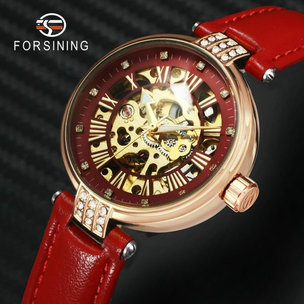 FORSINING Fashion Casual Auto Mechanical Women Watch Red Leather Strap Crystal Skeleton Elegant Classic Ladies Wrist Watches