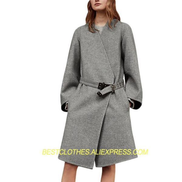 Neue Von Mode Winter Schöne V Gürtel Für Frauen Gezeiten Dünne Damen Grau Pop Ausschnitt Langen Großhandel Wolle Mäntel F623 Wollmantel UMVSpqz