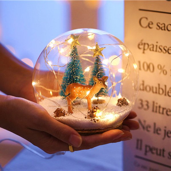 Creative LED Crystal Ball Design Table Lamp Room Decor Bedside Night Light For Girls Baby New Year Christmas Birthday Gift